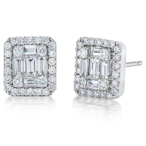 18K White Gold Emerald Illusion Diamond Earrings, 1/2ct TDW