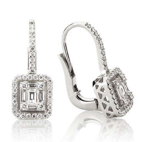 18K White Gold Emerald Illusion Diamond Dangle Earrings, 0.85ct TDW