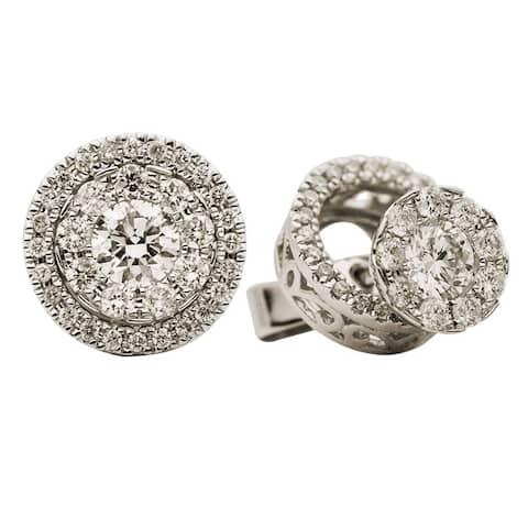 18K White Gold Diamond Stud Earrings with Jacket, 0.85ct TDW