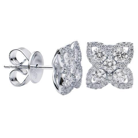 18K White Gold Diamond Flower Stud Earrings