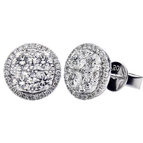 18K White Gold Round Illusion Diamond Stud Earrings