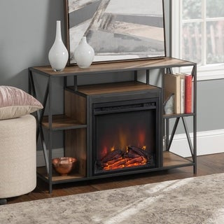 Rustic Industrial X-Frame Open Shelf Fireplace- 40 Inch (2 options available)