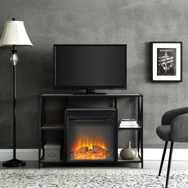 shop 40 x frame open shelf fireplace console 40 x 16 x 26h free