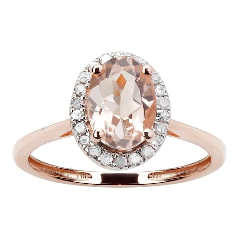10K Rose Gold 0.76ct TW Morganite and Diamond Ring - Pink