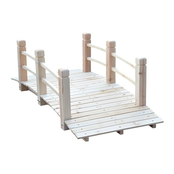 Outsunny 5ft Wooden Garden Bridge Arc Stained Finish Walkway with Safety Railings & Elegant Beauty, Natural Wood. Opens flyout.