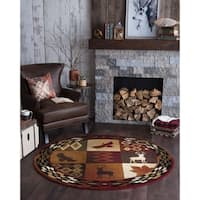 Alise Rugs Natural Novelty Lodge Round Area Rug - 7'10 x 7'10