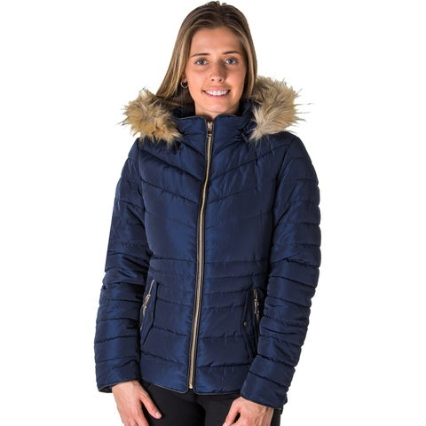 Ladies Faux Fur Lined Jacket with Detachable Hood.