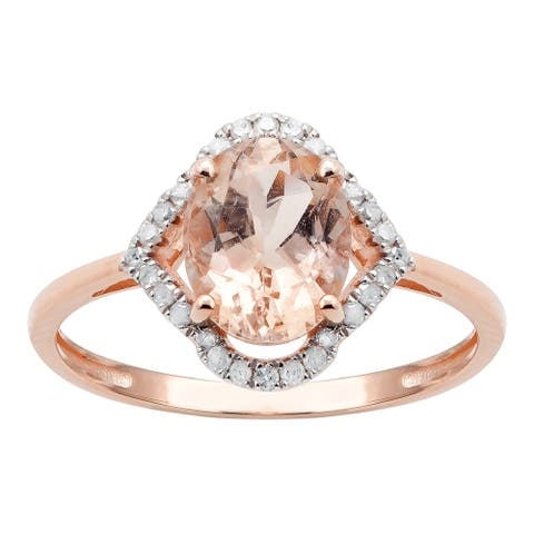 10K Rose Gold 1.20ct TW Morganite and Diamond Ring - Pink