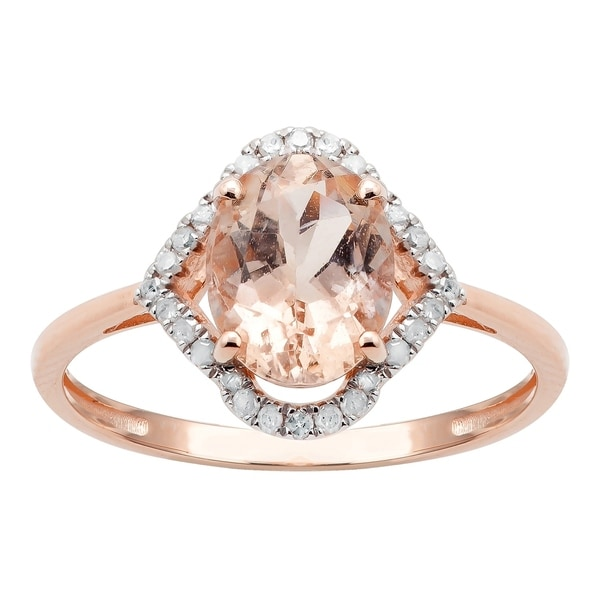 10K Rose Gold 1.20ct TW Morganite and Diamond Ring - Pink. Opens flyout.