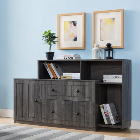 Furniture of America Kellier Country Style Open Shelf File Cabinet