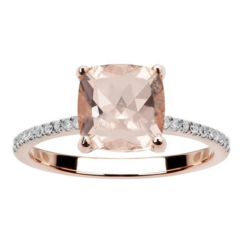 10K Rose Gold 1.45ct TW Morganite and Diamond Ring - Pink