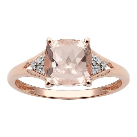 10K Rose Gold 1.43ct TW Morganite and Diamond Ring - Pink