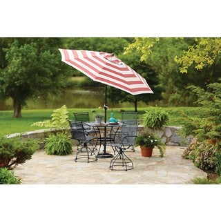 Sunline Red White Stripe 9 ft Tiltable Market Umbrella