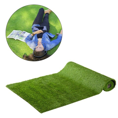 Outsunny Realistic Synthetic Indoor / Outdoor Artificial Turf Grass Carpet with Rubber Backing (30 sq ft)