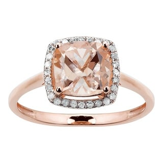 10K Rose Gold 1.51ct TW Morganite and Diamond Ring - Pink
