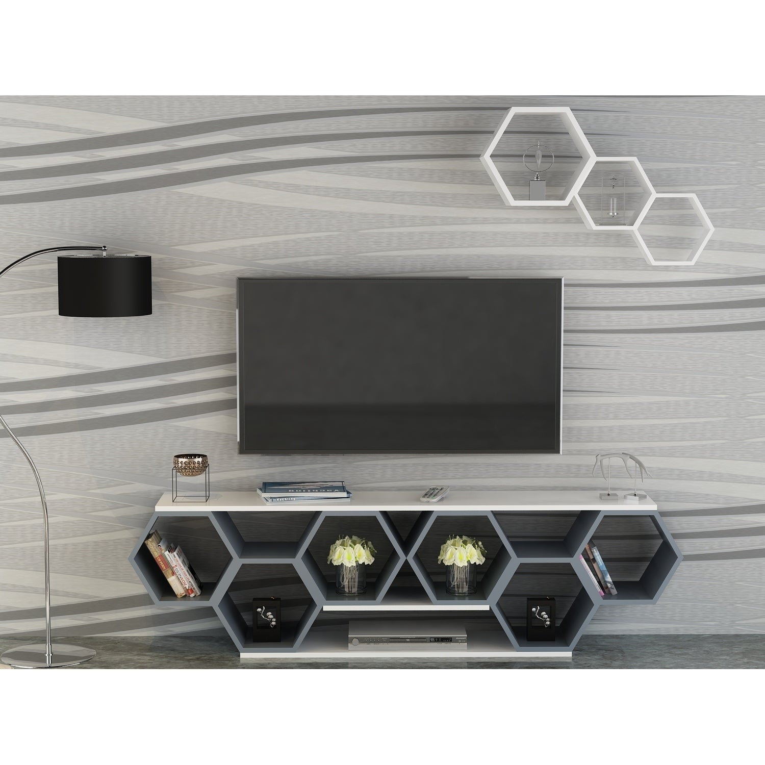 Bumblebee Contemporary Wood Honeycomb-style TV Stand (Anthracite/White)