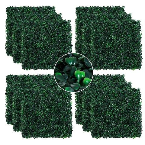 """Outsunny Artificial Boxwood Milan Grass Mat with Grid Back Design, Includes Ties, Set of 12 20"""" x 20"""" Tiles"""