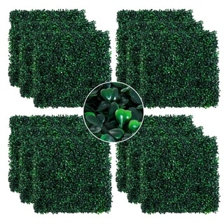 "Link to Outsunny Artificial Boxwood Milan Grass Mat with Grid Back Design, Includes Ties, Set of 12 20"" x 20"" Tiles Similar Items in Yard Care"