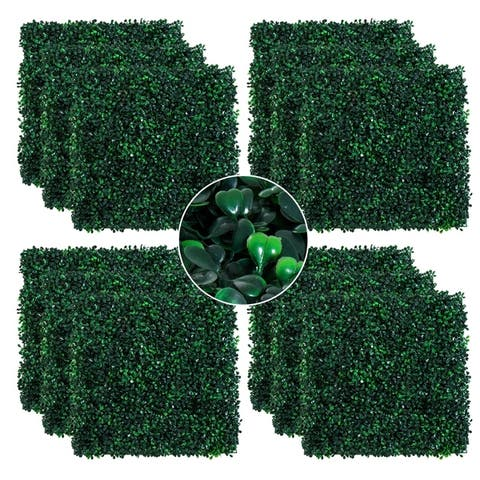 "Outsunny Artificial Boxwood Milan Grass Mat with Grid Back Design, Includes Ties, Set of 12 20"" x 20"" Tiles"