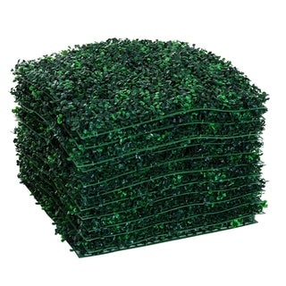 "Outsunny 12 Piece 20"" x  20"" Artificial Boxwood Hedge Mat Plant Panels - Boxwood"