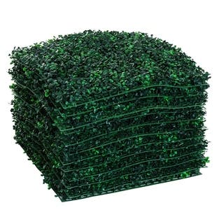 """Outsunny 12 Piece 20"""" x 20"""" Artificial Boxwood Hedge Mat Plant Panels - Boxwood"""