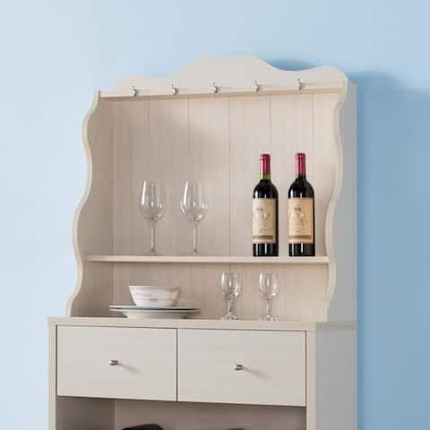 Furniture of America Aore Rustic 2-drawer Kitchen Cabinet w/ Wine Rack