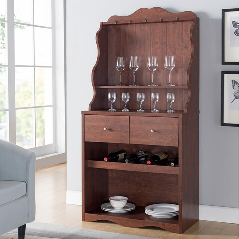 Furniture of America Melliers Country Style Rustic Kitchen Cabinet with Wine Rack