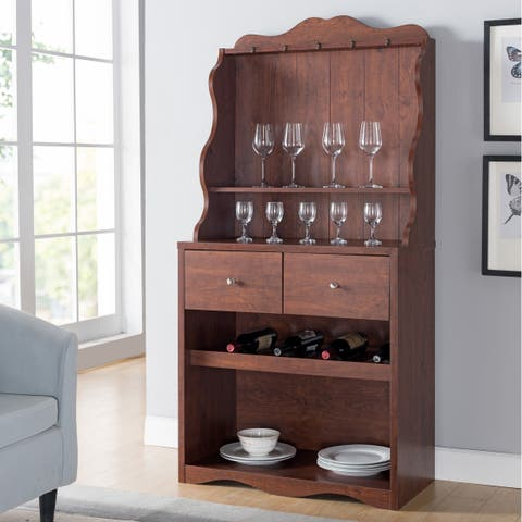 Melliers Rustic Kitchen Cabinet with Wine Rack by FOA
