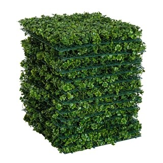 "Outsunny 12 Piece 20"" x 20"" Artificial Boxwood Hedge Mat Panels Outdoor Patio - Clover"