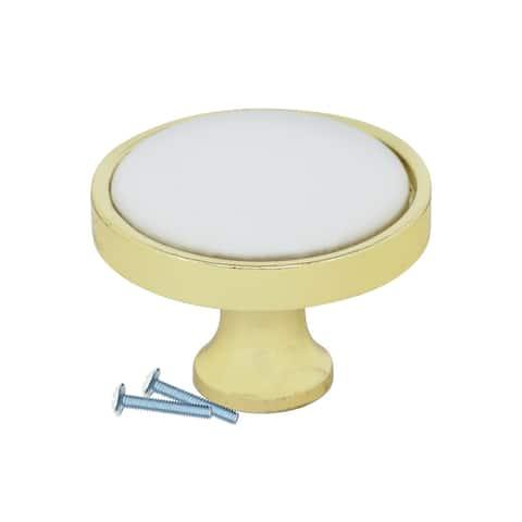 "2 Pack Retro White Ceramic, Brass Cabinet Mushroom Knob, 1-1/4"""