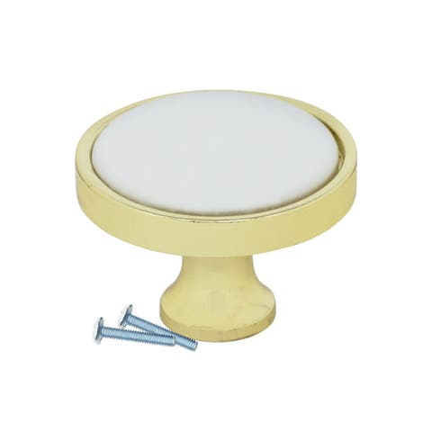 2 Pack Retro White Ceramic, Brass Cabinet Mushroom Knob, 1-1/4""