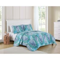 VCNY Home Natalya Reversible Striped Paisley Quilt Set - Blue/Multi-color