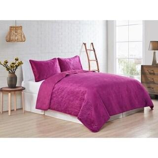 VCNY Home Solid Velvet Quilt Set