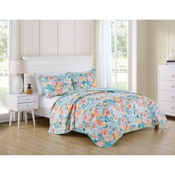 VCNY Home Kayla Reversible Floral Chevron Quilt Set