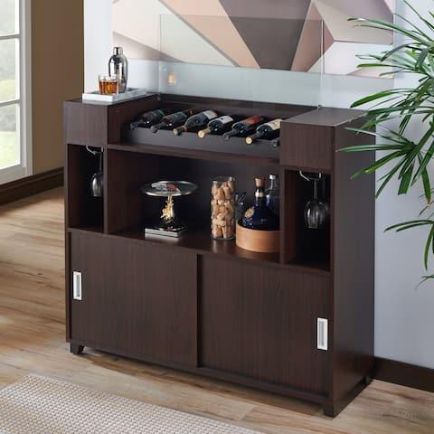 Porch & Den Bushwick Eldert Espresso Storage Server with Wine Rack