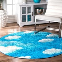 nuLOOM Blue Kids Contemporary Imaginative Cloudy Sky Round Area Rug - 5' Round