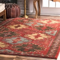 """nuLOOM Red Southwestern Traditional Persian Runic Treliis Area Rug - 7'10"""" x 11'"""