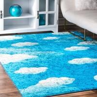 nuLOOM Blue Kids Contemporary Imaginative Cloudy Sky Area Rug - 5' x 7'
