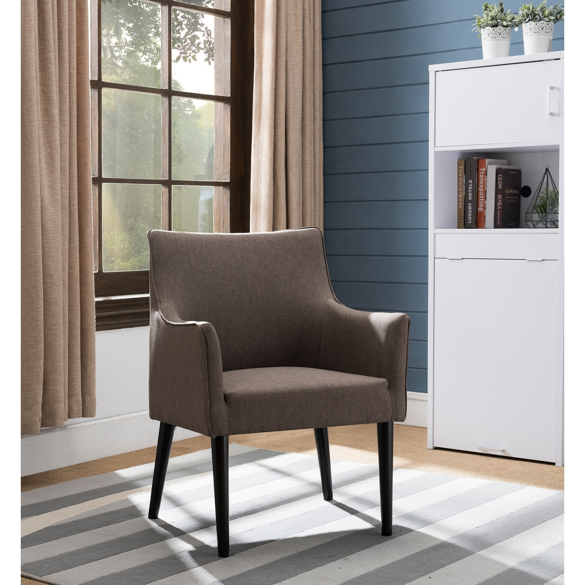 AC6302 Brown Fabric-upholstered Armchair with Solid Wood Legs