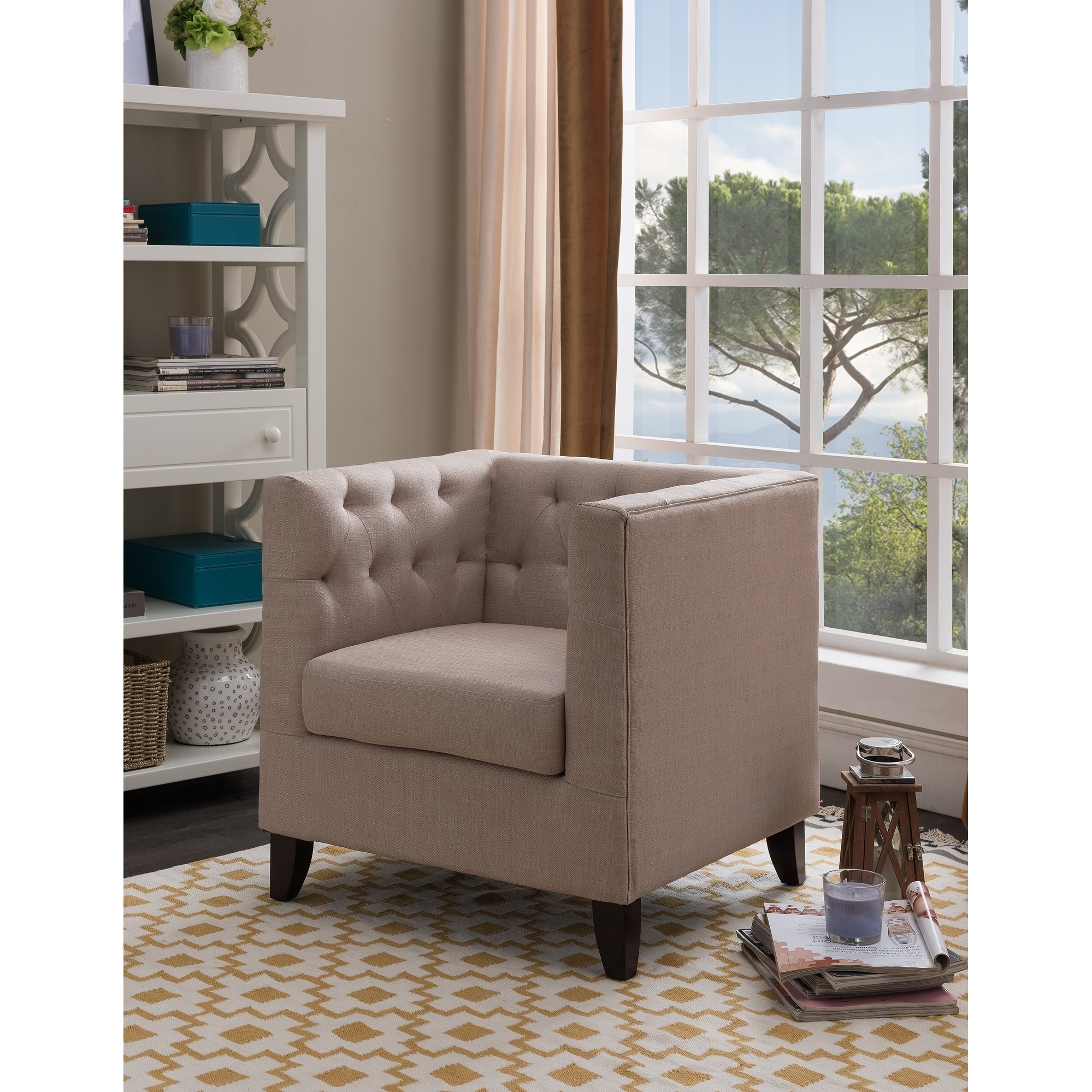 K&B Furniture Cream Fabric/Solid Wood Upholstered Tufted Accent Chair