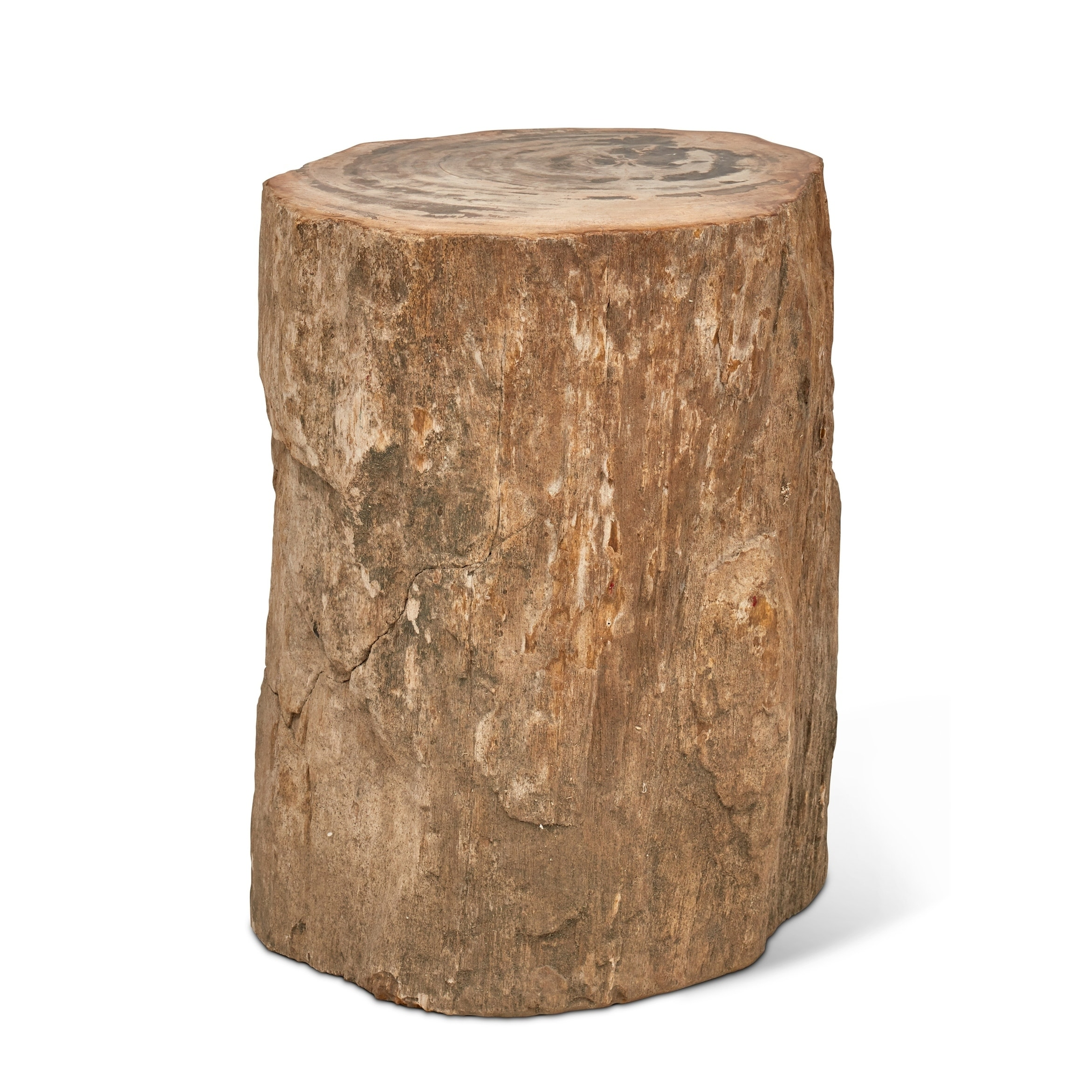 Top Polished Light Marble Stump End Table
