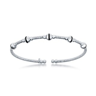 La Preciosa Sterling Silver Italian Wire Design Beaded Platinum Bangle