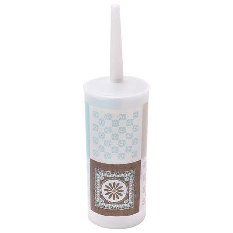 "Evideco Faience Printed Toilet Bowl Brush Holder with Plastic Handle - Blue,Taupe - 3.94""L x 3.94""W x 13.78""H"