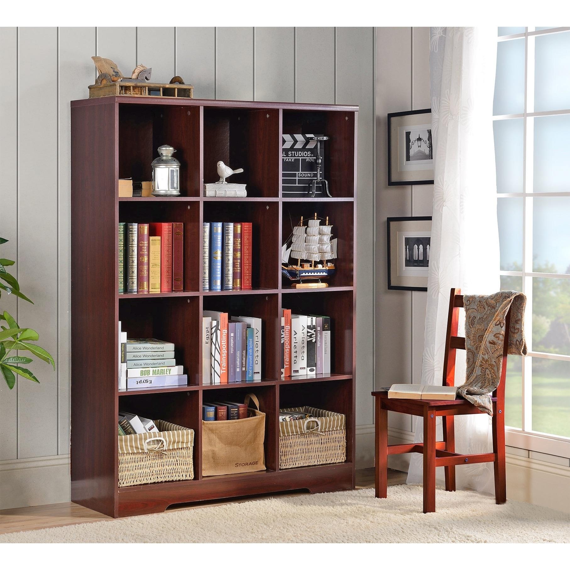 American Furniture Classics Large 12 Cube Storage Organizing Bookcase - Classic Cherry
