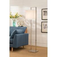 Stainless Steel Floor Lamp with White Fabric Shade