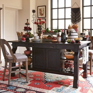 Hudson Square Traditional Vintage Charcoal Counter Height Table
