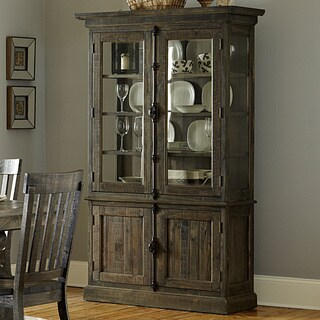 Bellamy Traditional Peppercorn Wood China Cabinet - N/A