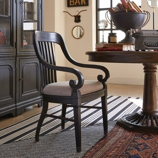 Hudson Square Traditional Vintage Charcoal Dining Arm Chair - N/A