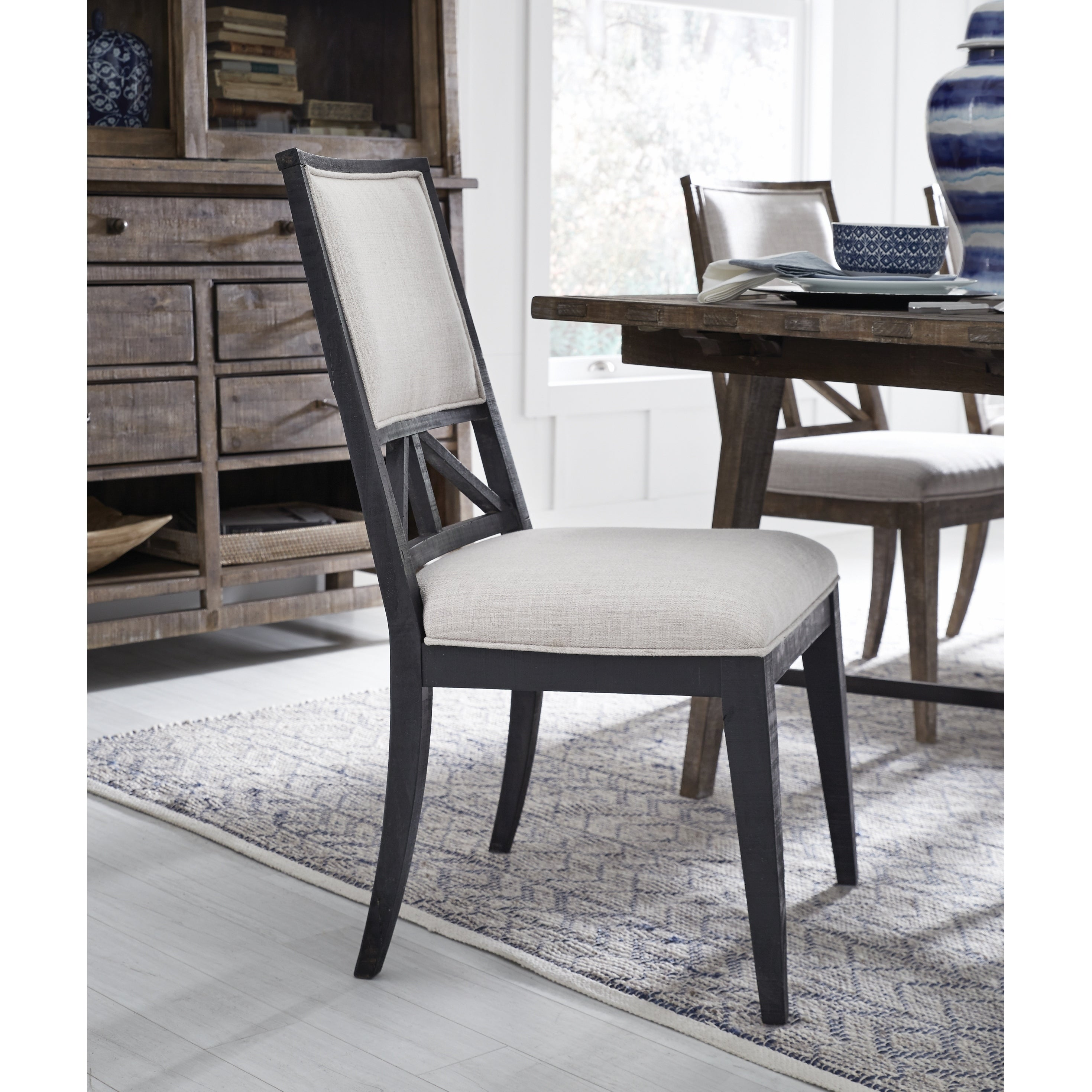 Lake Haven Rustic Washed Denim Upholstered Side Chair