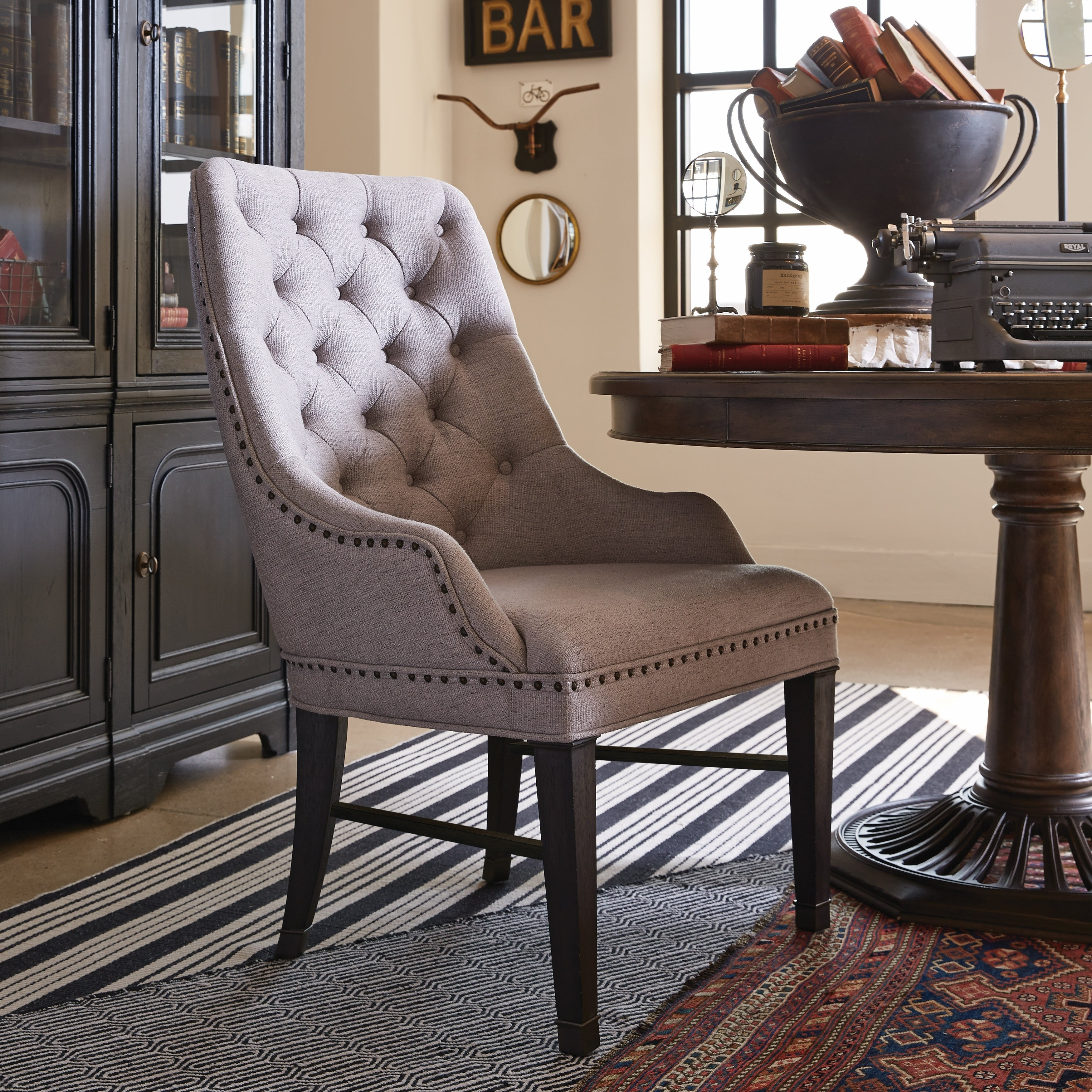 Hudson Square Traditional Upholstered Host Chair